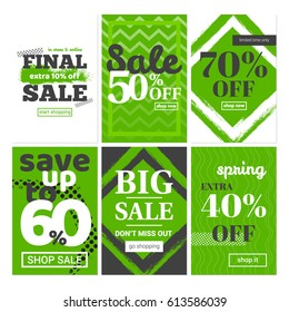 Spring sale. Set of banners for newsletters, ads, coupons, social media and websites. Vector illustration