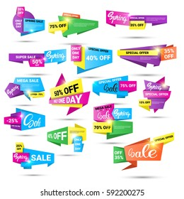 Spring Sale Shopping Special Offer Holiday Banner Set Flat Vector Illustration