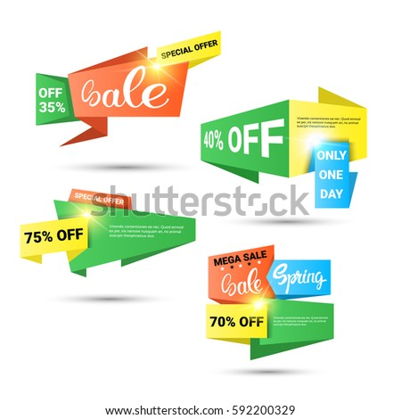 2ac06026403 Spring Sale Shopping Special Offer Holiday Banner Set Flat Vector  Illustration