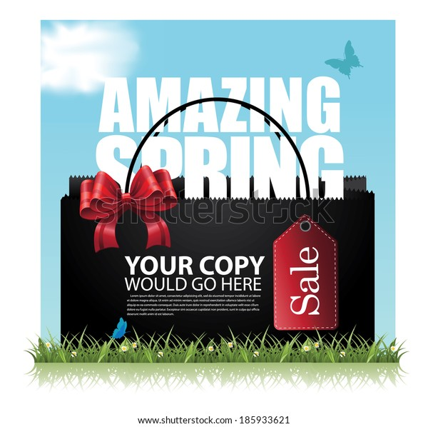 Spring Sale tag advertising background template. EPS 10 vector, grouped for easy editing. No open shapes or paths.