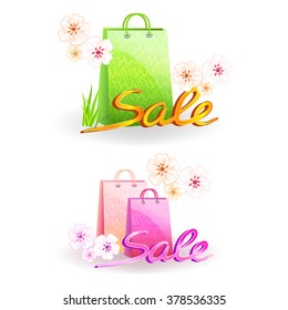 Spring sale text and colored shopping bag on a white background, bright colors and light shades.