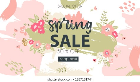 Spring Sale typography promo banner with hand lettered word spring and decorated with flowers and brush strokes on background in fresh and modern spring colors