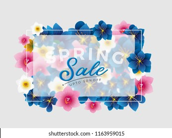 Spring Sale Vector background with beautiful flower for banner, flyer, Invitation, poster, brochure, discount, sale