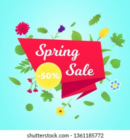 Spring sale vector banner or poster gradient flat style design vector illustration. Huge red ribbon with text SPRING SALE, green leaves and beautiful flovers around isolated on sky background