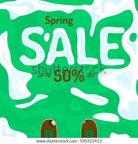 Spring sale vector banner, poster, flyer. Fresh creative design of sale template. Vector illustration with melting snow on grass, ragged shoes.