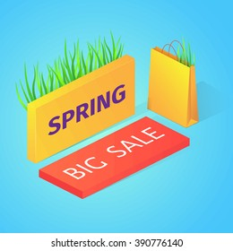 Spring sale vector illustration. Isometric buttons and paper bag on blue background.