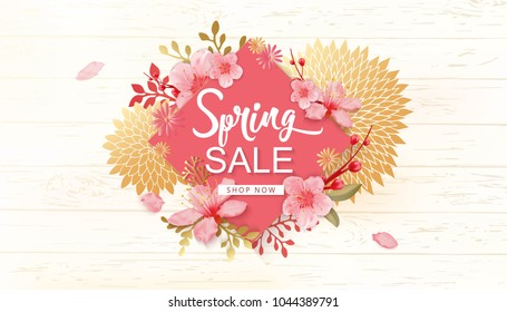 Spring Sale Vector Illustration. Seasonal Banner With Cherry Blossoms and Wood Background.