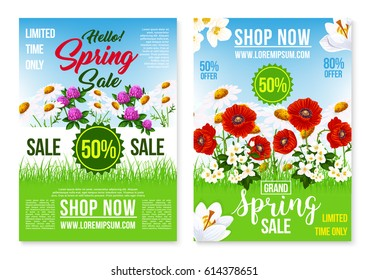 Vector traditions poppy flowers set on shutterstock spring sale vector posters and web landing pages field of blooming poppies and garden flowers mightylinksfo