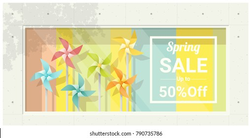 Spring sale window display with colorful pinwheels background , vector , illustration