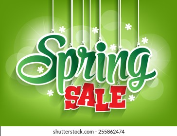 Spring Sale Word Hanging with Strings. Vector Illustration
