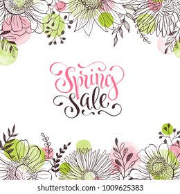 Spring sale. Spring wording with floral elements and watercolor spots on background. Romantic greeting card in pastel colors.