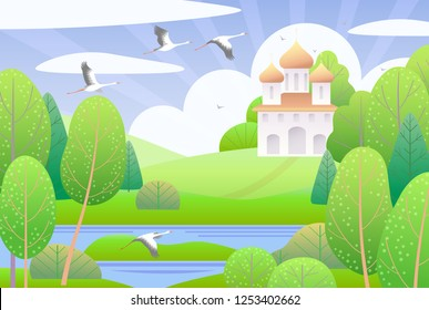 Spring scene with church, clouds, green trees and flying storks.  Nature background with colorful landscape. Vector flat naive illustration.
