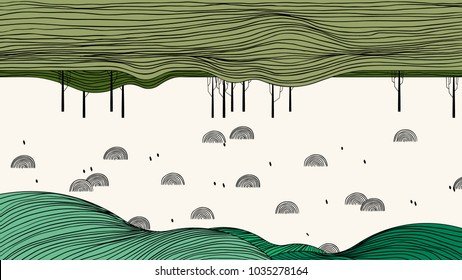 Spring scenery landscape line art ink drawing, field surrounded by forest and small hills