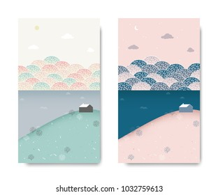 Spring scenery landscape, small house on the hill with sea and cherry blossom park behind, day and night time lapse, postcard template