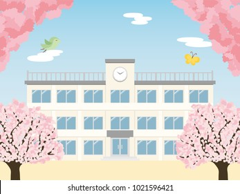 Spring school building and cherry tree.