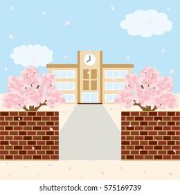 Spring school landscape.