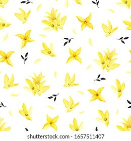 Spring seamless blooming pattern with yellow forsythia and black abstract leaves. Vector floral illustration on white background in vintage watercolor style.