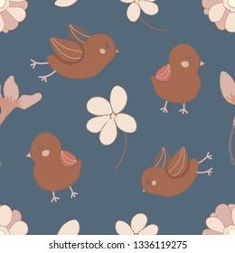 spring seamless pattern, birds vector illustration.