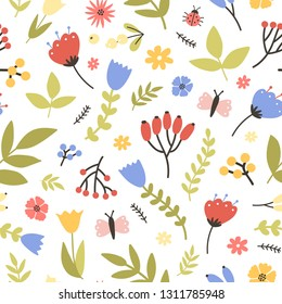 Spring seamless pattern with blooming plants on white background. Floral backdrop with meadow flowers, berries, butterflies and bugs. Flat seasonal vector illustration for wallpaper, fabric print.
