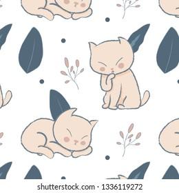 Spring seamless pattern, cute cat illustration. Vector