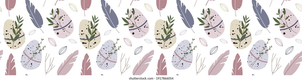 Spring seamless pattern. Cute easter egg, nest, feather, branch, leaves. Eco rustic decoration. Vector flat cartoon illustration. Perfect for textile, wrapping paper