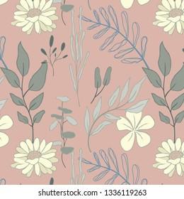 spring seamless pattern, floral background, botanical illustration.