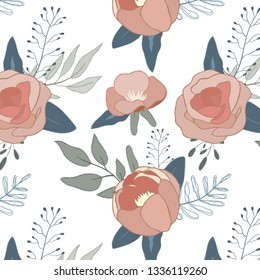 spring seamless pattern, floral pattern on white background, roses illustration.