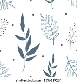 spring seamless pattern, floral pattern on white background. Vector