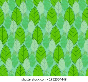 Spring seamless pattern with green stylized leaves.