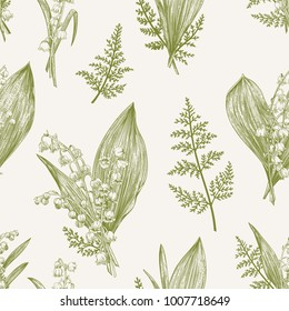 Spring seamless pattern with lily of the valley flowers. Vintage style.