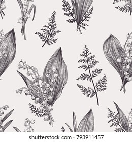 Spring seamless pattern with lily of the valley flowers. Black and white.