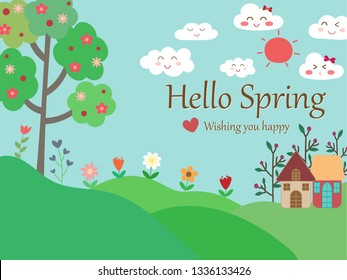 Spring season background with pastel blue sky, smile face cloud, red sun, tree, colorful flower on green grass and cute home look so fresh and natural. Wallpaper vector art pattern botanicals design.