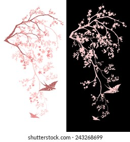 spring season blossom decorative design - blooming sakura branches vector