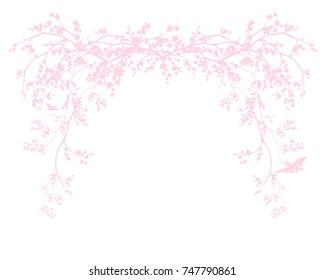 spring season blossom decorative design - blooming sakura branches vector arch