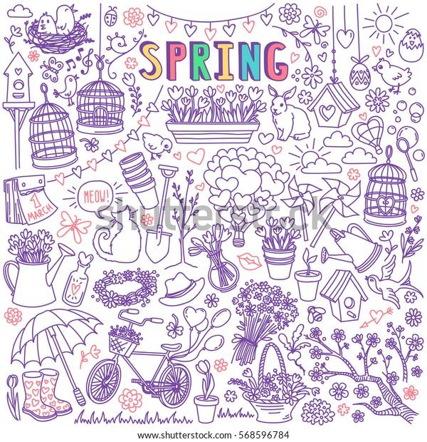 Image vectorielle de stock de Saison de printemps, jeu de