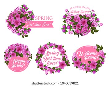 Spring season holiday icon with pink flower wreath and ribbon banner. Springtime blooming garden plant with clover, azalea and phlox blossom, green leaf and floral branch for greeting card design