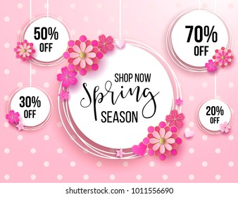 Spring season sale offer, banner template. Pink ribbon with lettering and flower, roses, isolated on pink striped background. Feminine sale tag. Shop market poster design. Vector illustration.