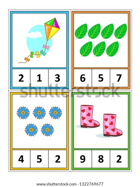 image about Free Printable Task Cards identify Spring Period Themed Counting 1 10 Inventory Vector (Royalty