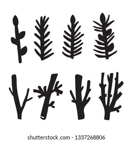 Spring set of Driftwood, ground floor hand-drawn ink rustic design elements collection. Dry tree branches and wooden twigs. Vintage doodle bundle art in primitive vector style.