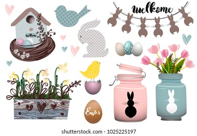 Spring set of elements for Happy Easter. Bunny, chickens, flowers, garland and colored eggs. Elements for postcards, invitations, advertisements, posters