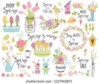 Spring set, hand drawn elements Typography spring quotes cute spring flowers bouquet birds wreaths, rabbit Easter Collection for print card poster label tag invitation sticker kid Vector illustration.
