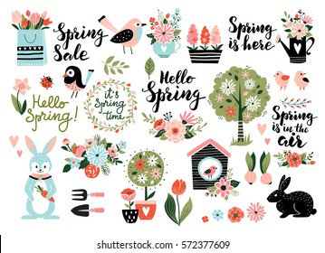 Spring set, hand drawn elements- calligraphy, flowers, birds, wreaths, and other. Perfect for web, card, poster, cover, tag, invitation, sticker kit. Vector illustration.