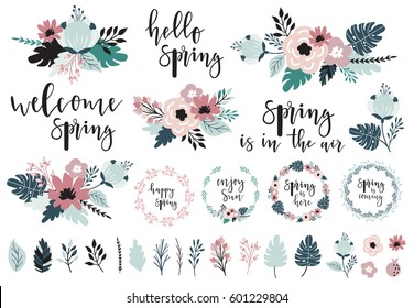 Spring set, hand drawn elements - calligraphy, flowers, bouquets, wreaths, and other. Perfect for greeting card, poster, tag, invitation, sticker kit. Vector illustration.