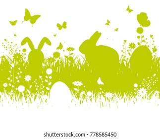 Spring silhouette easter background with abstract grass, eggs, flowers, bunny and butterflies - vector illustration