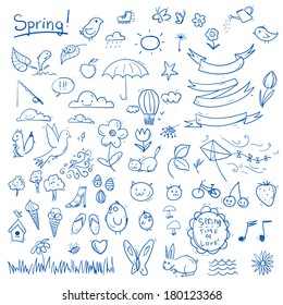 Spring sketch set. Simple objects on white background