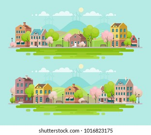 Spring in small town. Urban landscape. Vector illustration.