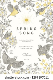 Spring song. Classis vintage illustration. Blossom garden. Yellow and gray