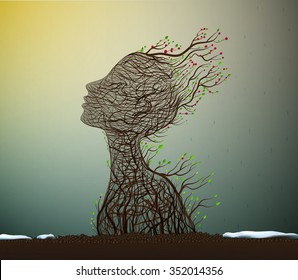 spring soul, tree branch looks like a woman's head stretching her face to the sun, nature icon concept, plant life, surrealism, vector