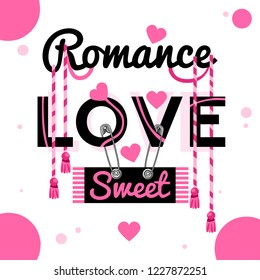 Spring sound, a romantic slogan for you or a stylish romance on a small youth summer for the winners. Typography with  rock animals, a lovable print for t-shirts for girls. Vector illustration.
