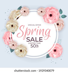 Spring Special Offer Sale Circle Frame Poster Natural Background with Flowers and Leaves Template. Vector Illustration EPS10